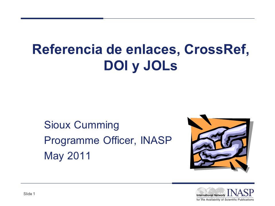 Referencia de enlaces, CrossRef, DOI y JOLs