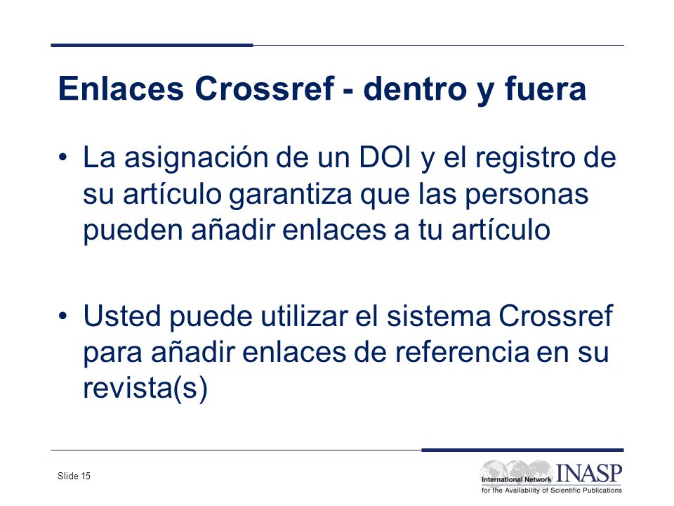 Enlaces Crossref - dentro y fuera