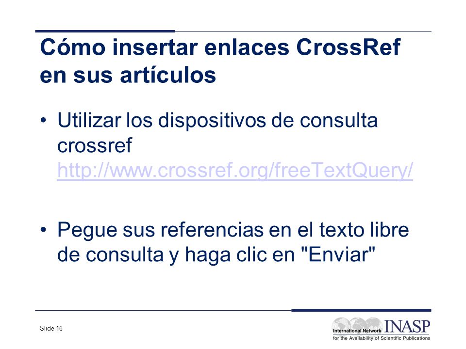 Cómo insertar enlaces CrossRef en sus artículos
