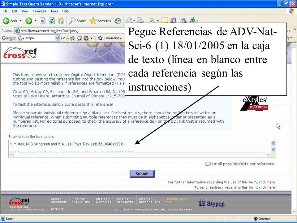 Pegue Referencias de ADV-Nat-Sci-6 (1) 18/01/2005 en la caja de texto (línea en blanco entre cada referencia según las instrucciones)