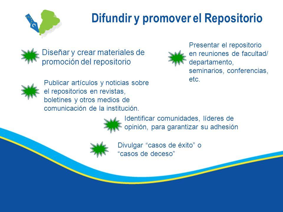 Difundir y promover el Repositorio