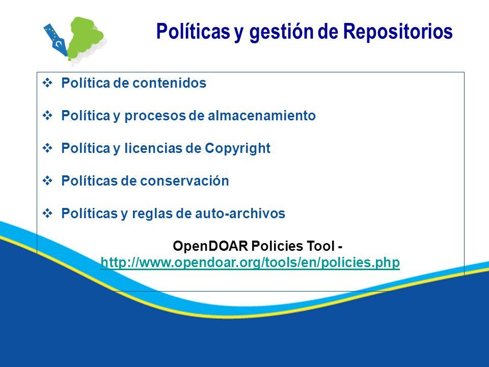 Políticas y gestión de Repositorios