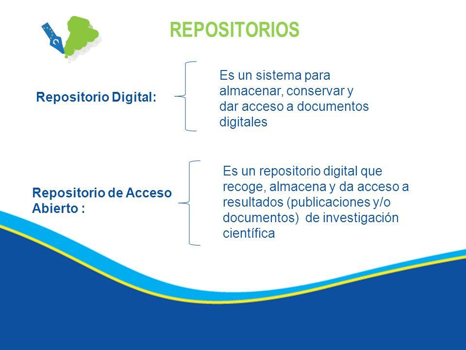 REPOSITORIOS Es un sistema para almacenar, conservar y dar acceso a documentos digitales. Repositorio Digital: