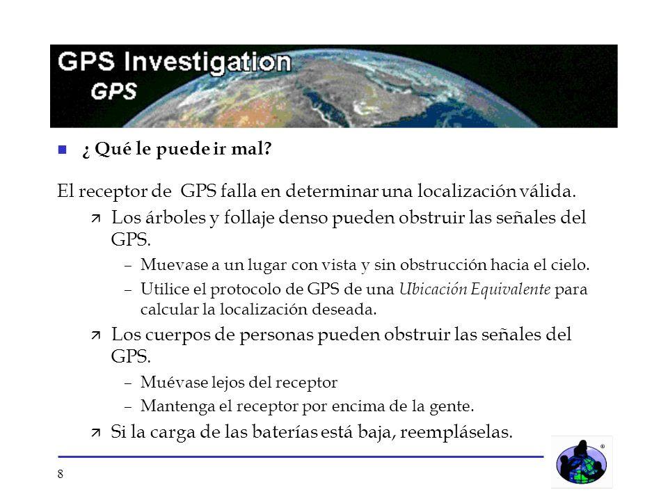 El receptor de GPS falla en determinar una localización válida.