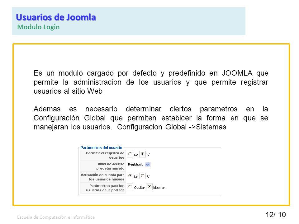 Usuarios de Joomla Modulo Login