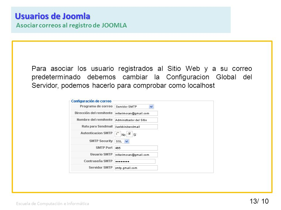 Usuarios de Joomla Asociar correos al registro de JOOMLA