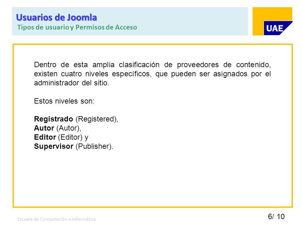 Usuarios de Joomla Tipos de usuario y Permisos de Acceso