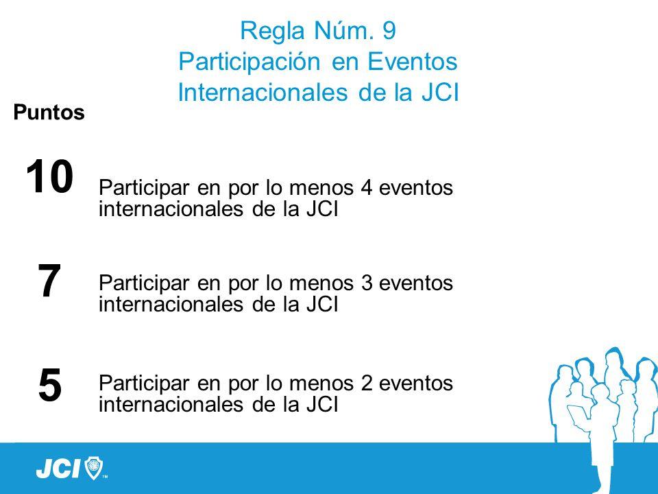 Regla Núm. 9 Participación en Eventos Internacionales de la JCI