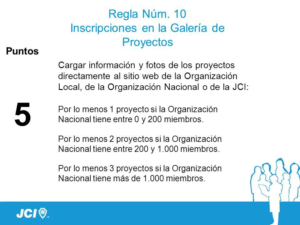 Regla Núm. 10 Inscripciones en la Galería de Proyectos