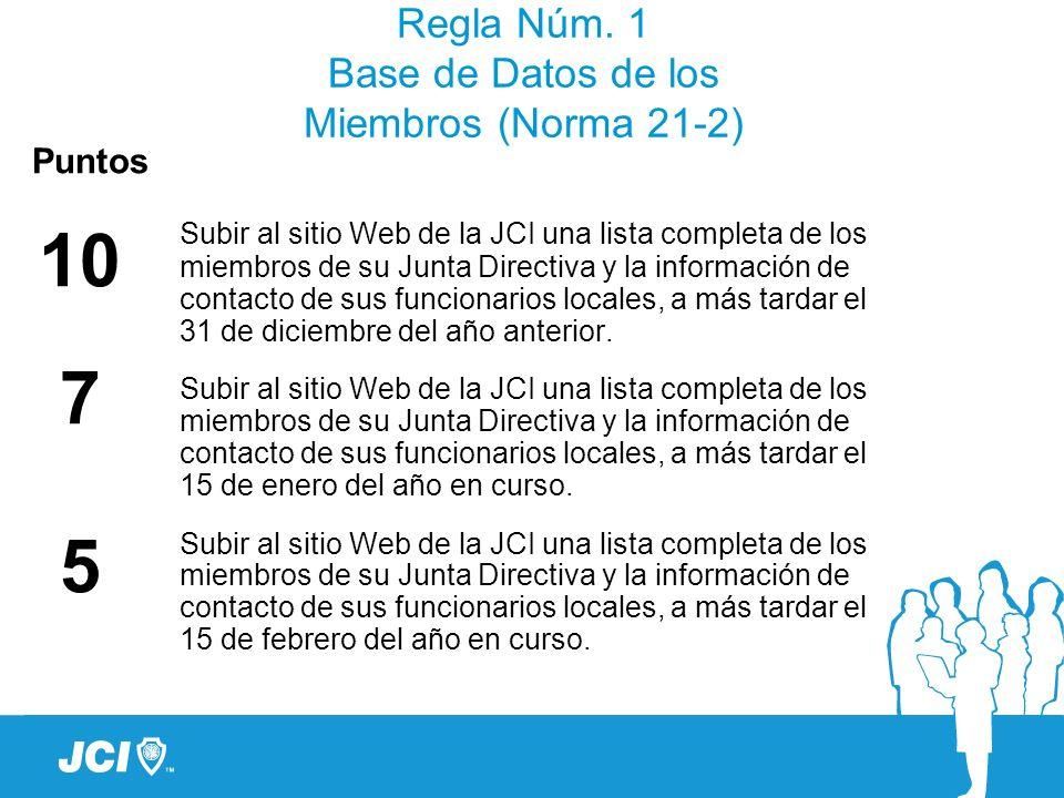 Regla Núm. 1 Base de Datos de los Miembros (Norma 21-2)