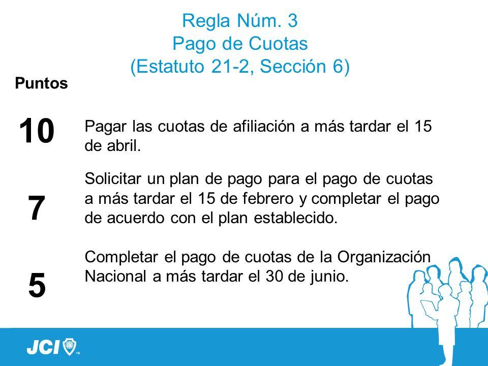 Regla Núm. 3 Pago de Cuotas (Estatuto 21-2, Sección 6)