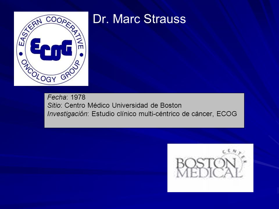 Dr. Marc Strauss Fecha: 1978. Sitio: Centro Médico Universidad de Boston.