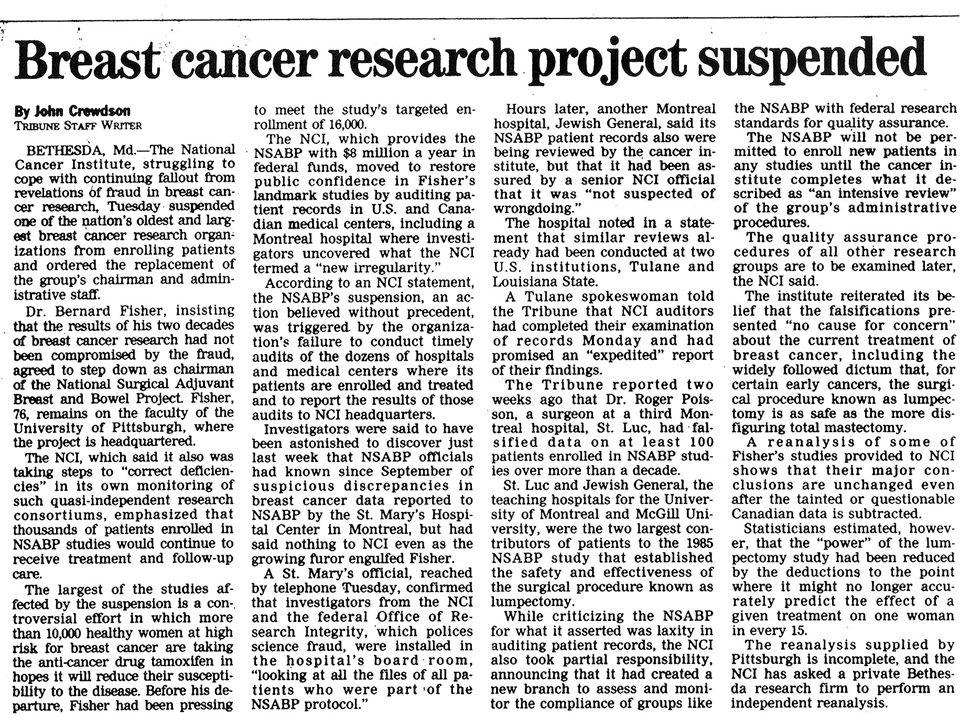 Proyecto de investigación de cáncer de mama suspendido