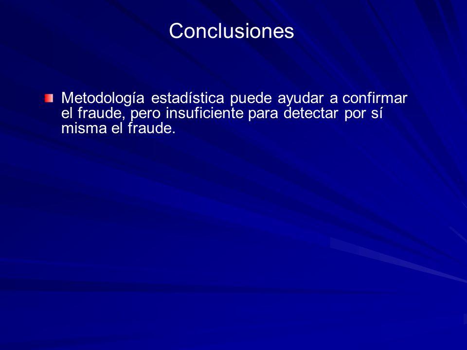 Conclusiones Metodología estadística puede ayudar a confirmar el fraude, pero insuficiente para detectar por sí misma el fraude.