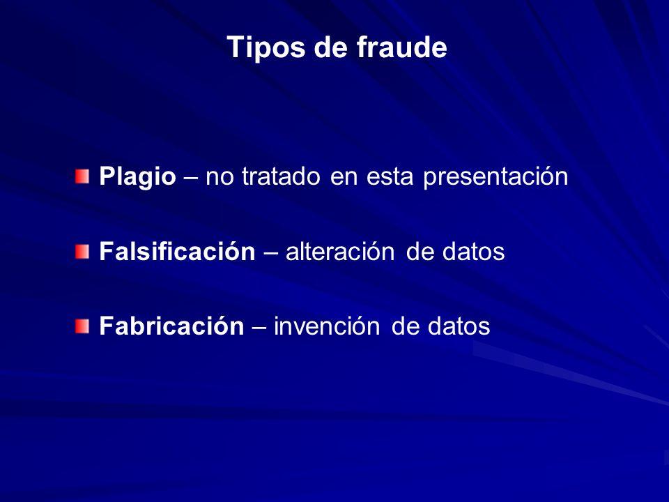 Tipos de fraude Plagio – no tratado en esta presentación