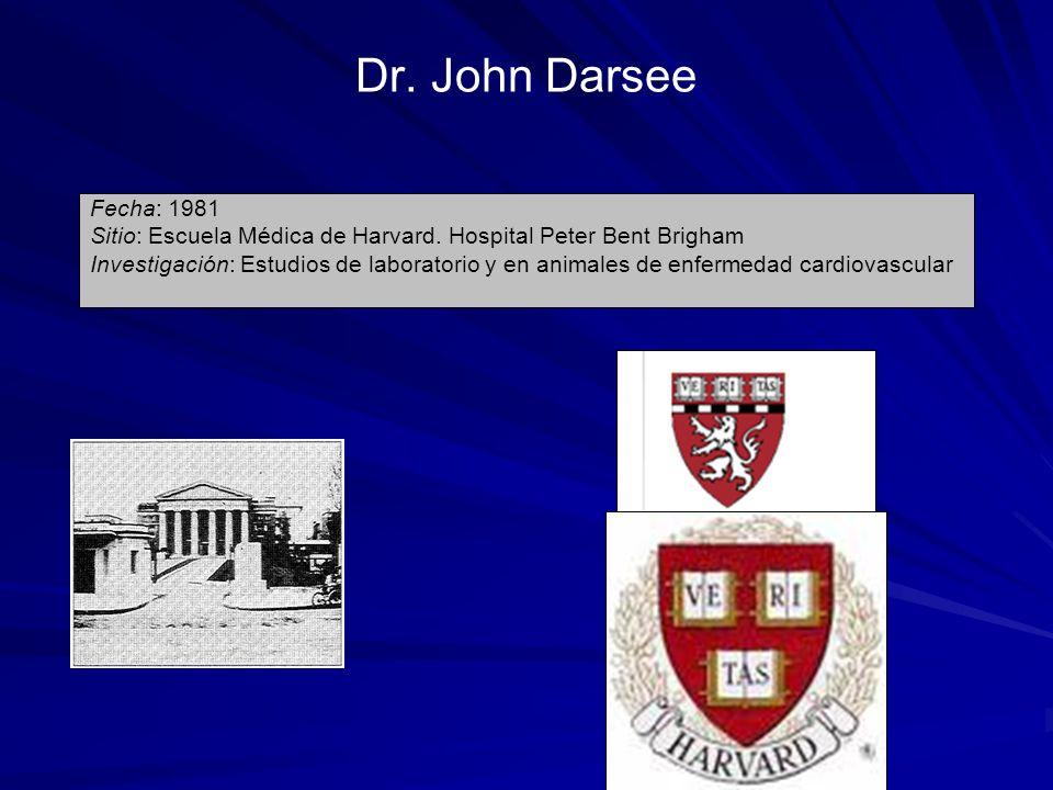 Dr. John DarseeFecha: 1981. Sitio: Escuela Médica de Harvard. Hospital Peter Bent Brigham.