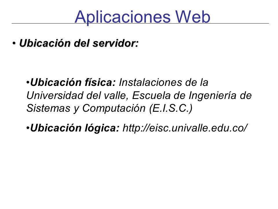 Aplicaciones Web Ubicación del servidor: