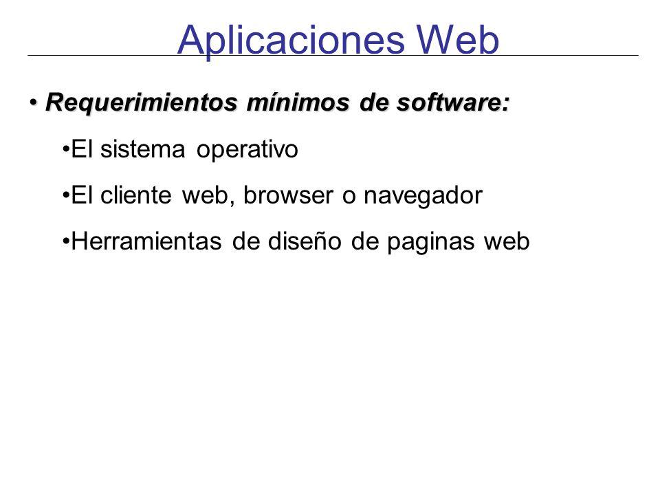 Aplicaciones Web Requerimientos mínimos de software:
