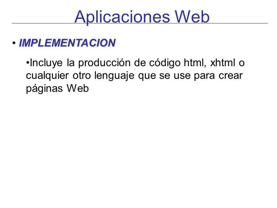 Aplicaciones Web IMPLEMENTACION
