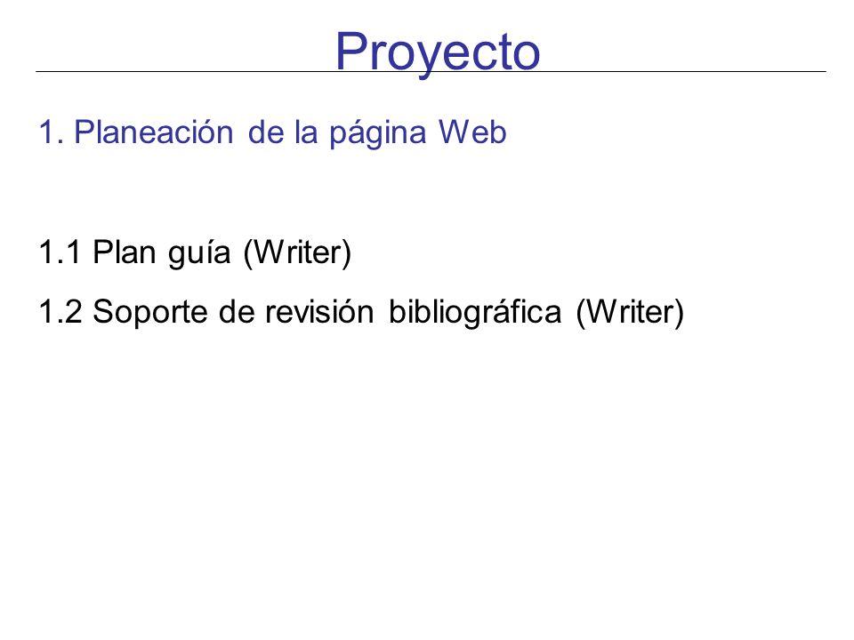 Proyecto 1. Planeación de la página Web 1.1 Plan guía (Writer)