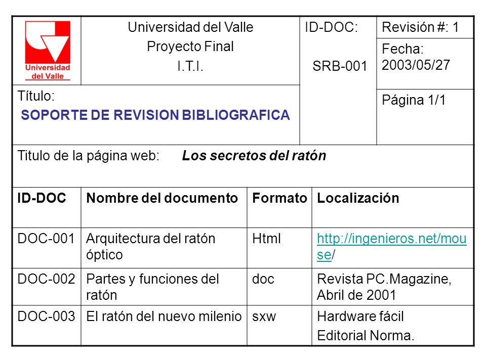 Universidad del Valle Proyecto Final. I.T.I. ID-DOC: SRB-001. Revisión #: 1. Fecha: 2003/05/27.