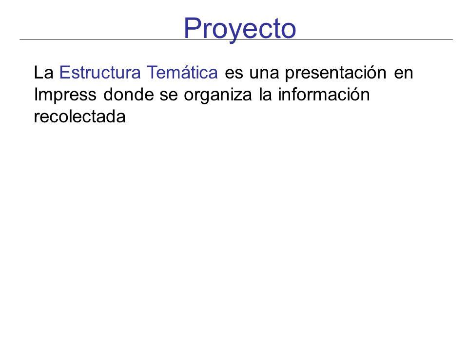 Proyecto La Estructura Temática es una presentación en Impress donde se organiza la información recolectada.