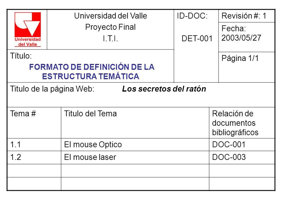 FORMATO DE DEFINICIÓN DE LA ESTRUCTURA TEMÁTICA