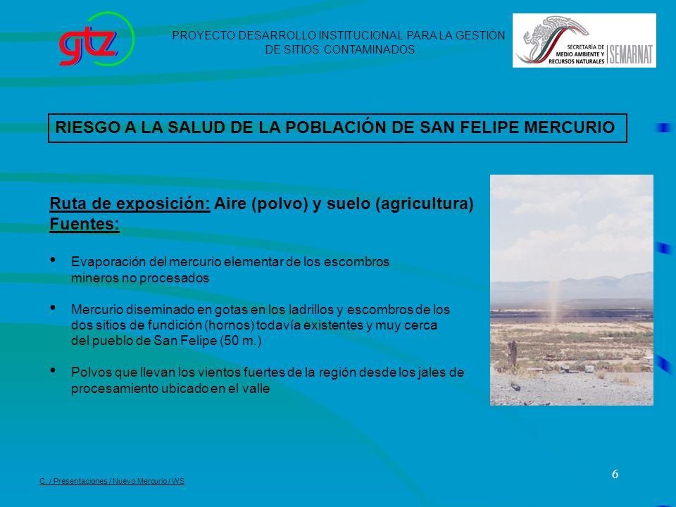 RIESGO A LA SALUD DE LA POBLACIÓN DE SAN FELIPE MERCURIO