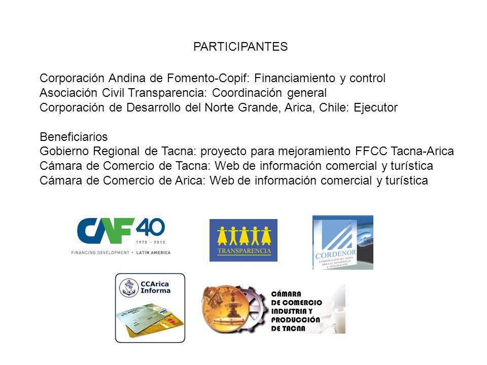 PARTICIPANTES Corporación Andina de Fomento-Copif: Financiamiento y control. Asociación Civil Transparencia: Coordinación general.