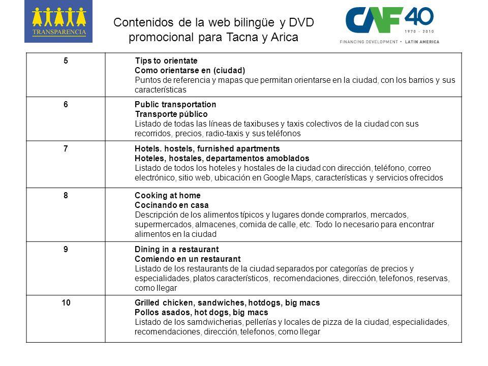 Contenidos de la web bilingüe y DVD promocional para Tacna y Arica