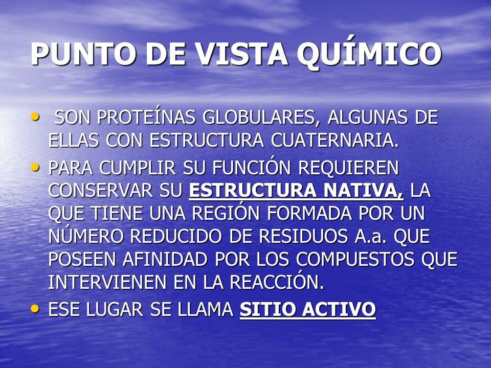PUNTO DE VISTA QUÍMICOSON PROTEÍNAS GLOBULARES, ALGUNAS DE ELLAS CON ESTRUCTURA CUATERNARIA.