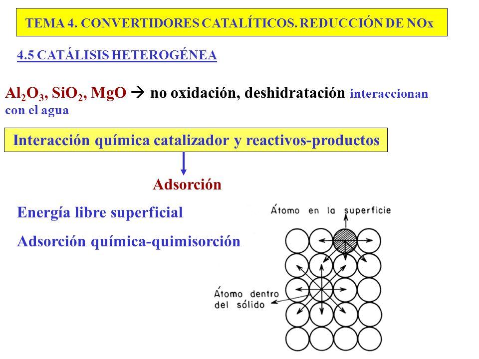 Interacción química catalizador y reactivos-productos