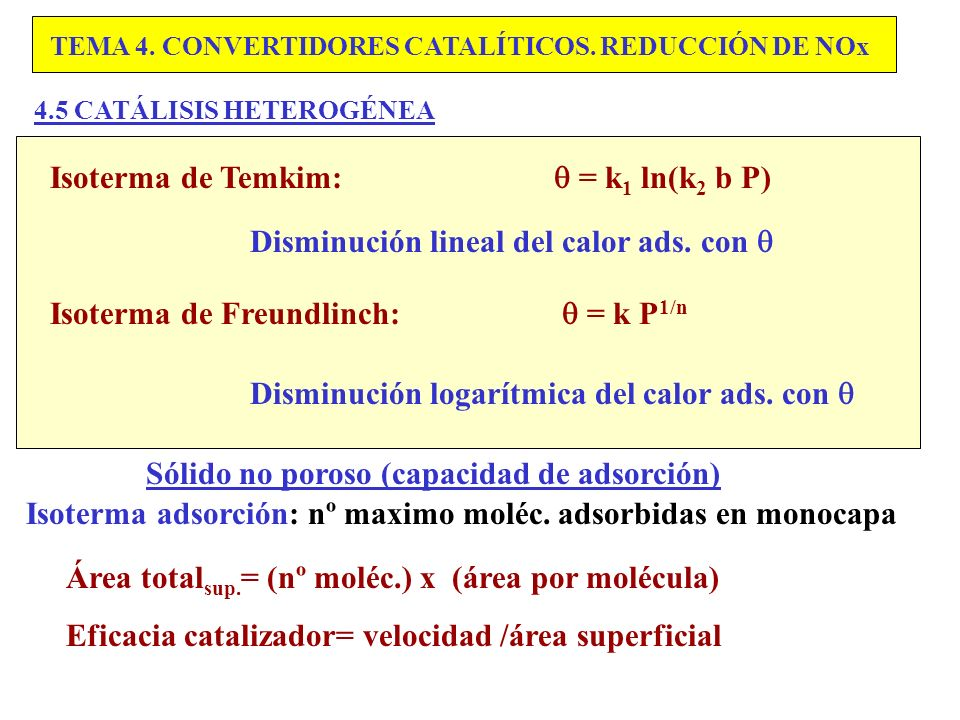 Isoterma de Temkim:  = k1 ln(k2 b P)