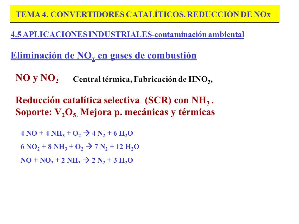 Eliminación de NOx en gases de combustión