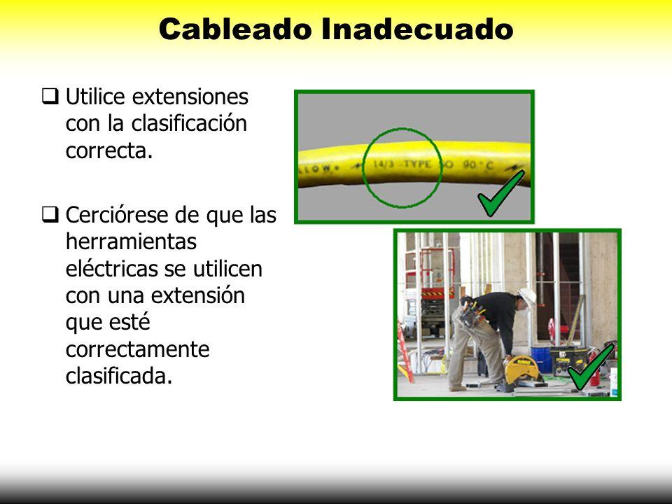 Cableado Inadecuado Utilice extensiones con la clasificación correcta.