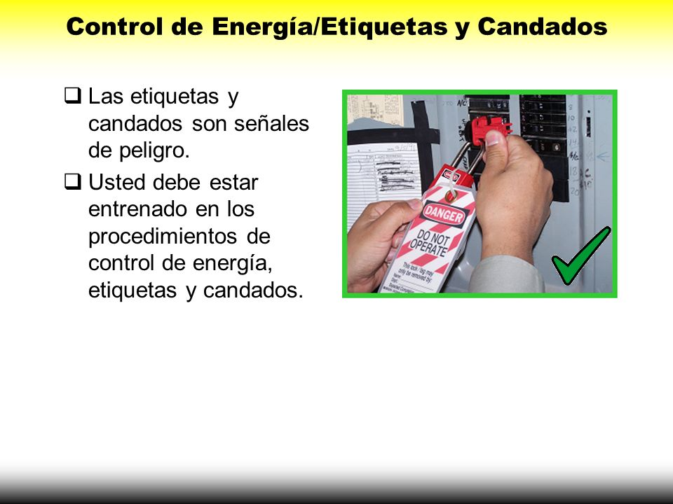 Control de Energía/Etiquetas y Candados