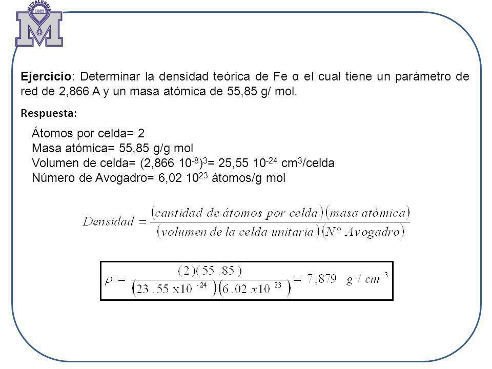 Ejercicio: Determinar la densidad teórica de Fe α el cual tiene un parámetro de red de 2,866 A y un masa atómica de 55,85 g/ mol.