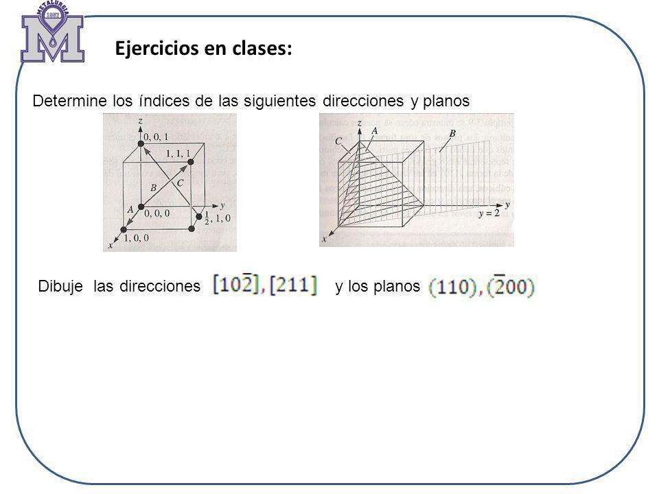 Ejercicios en clases: Determine los índices de las siguientes direcciones y planos.