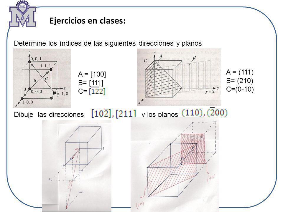 Ejercicios en clases: Determine los índices de las siguientes direcciones y planos. A = (111) B= (210)
