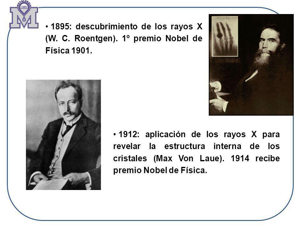 1895: descubrimiento de los rayos X (W. C. Roentgen)