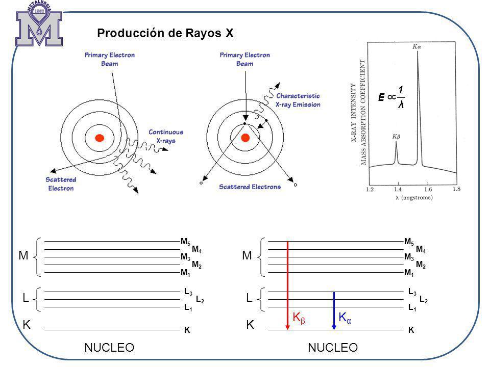 Producción de Rayos X M M L L Kβ Kα K K NUCLEO NUCLEO M5 M5 M4 M4 M3