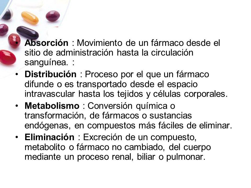 Absorción : Movimiento de un fármaco desde el sitio de administración hasta la circulación sanguínea. :