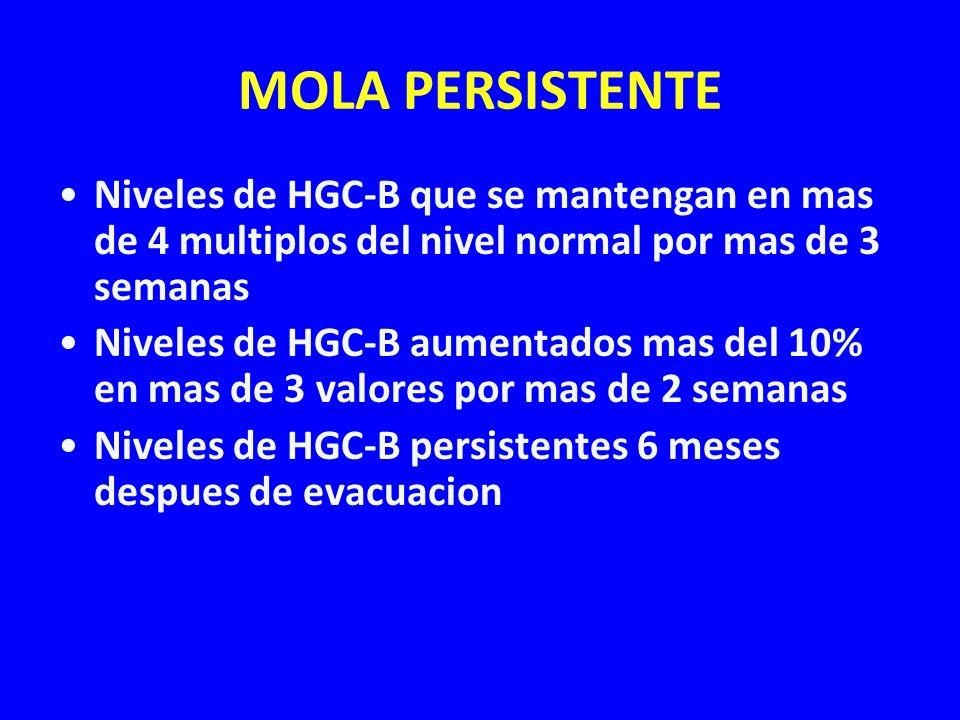 MOLA PERSISTENTE Niveles de HGC-B que se mantengan en mas de 4 multiplos del nivel normal por mas de 3 semanas.