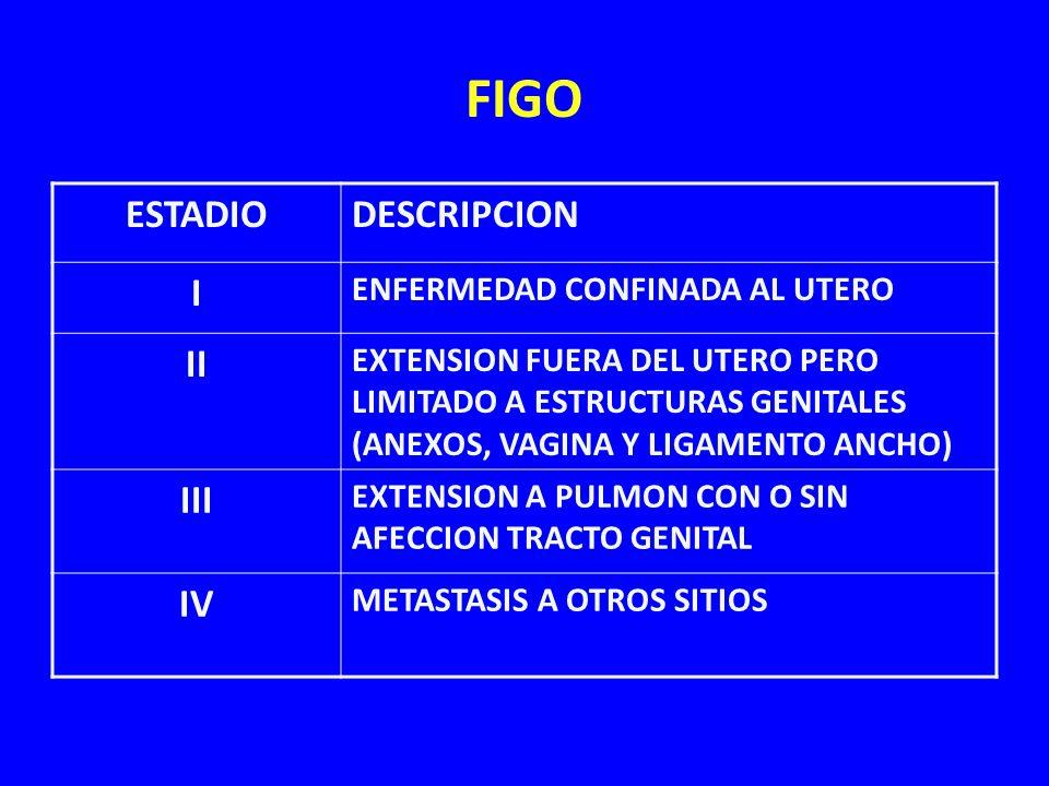 FIGO ESTADIO DESCRIPCION I II III IV ENFERMEDAD CONFINADA AL UTERO
