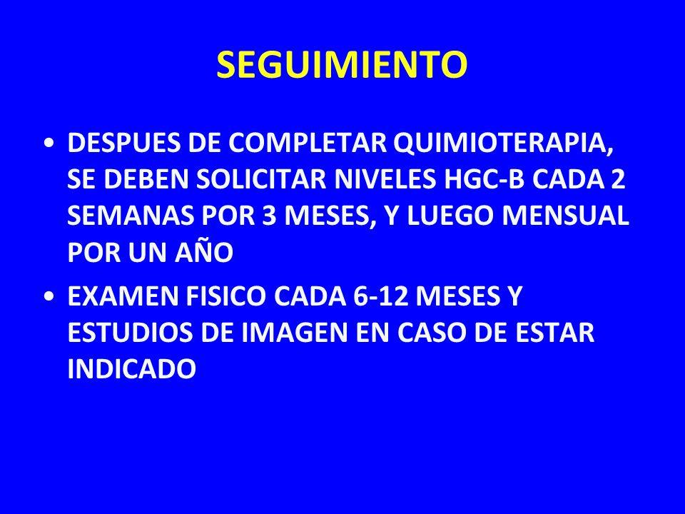 SEGUIMIENTO DESPUES DE COMPLETAR QUIMIOTERAPIA, SE DEBEN SOLICITAR NIVELES HGC-B CADA 2 SEMANAS POR 3 MESES, Y LUEGO MENSUAL POR UN AÑO.