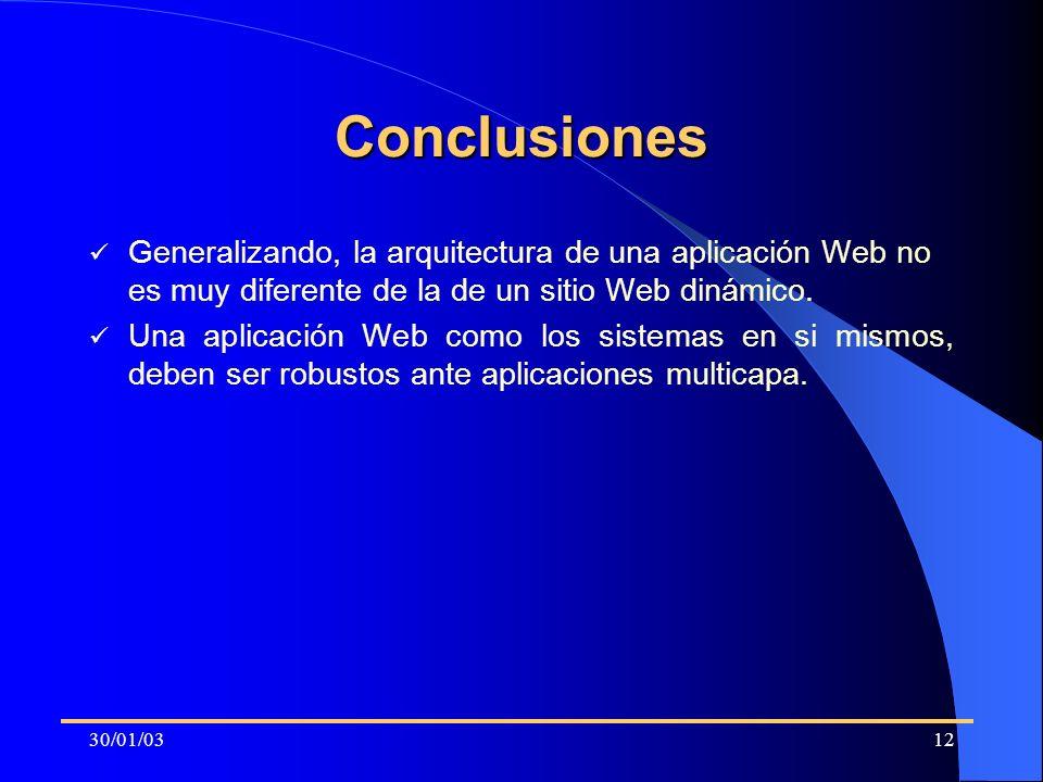 Conclusiones Generalizando, la arquitectura de una aplicación Web no es muy diferente de la de un sitio Web dinámico.