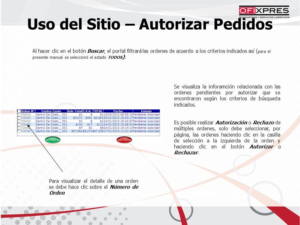 Uso del Sitio – Autorizar Pedidos