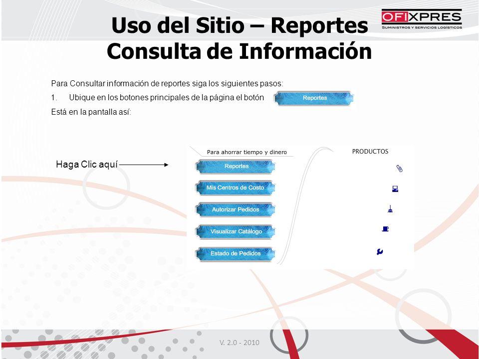 Uso del Sitio – Reportes Consulta de Información