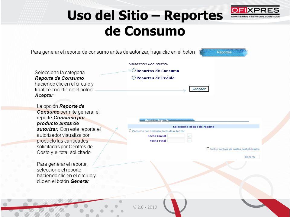 Uso del Sitio – Reportes de Consumo