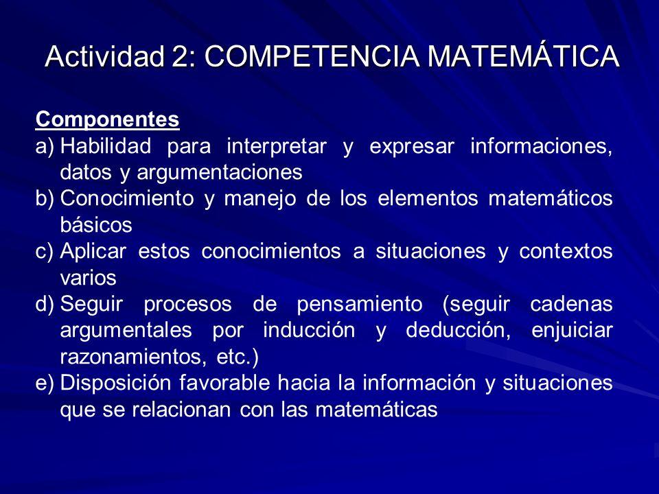 Actividad 2: COMPETENCIA MATEMÁTICA